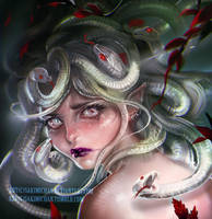 Medusa's sorrow by sakimichan