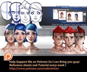 Front view head step by step tutorial pack by sakimichan