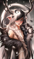 Yinyang Deer Girl by sakimichan