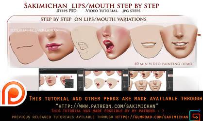 lip variation step by step tutorial pack.promo. by sakimichan