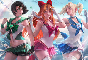 Powerpuff Sailors by sakimichan