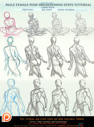 male/female pose breakdown tutorial pck.promo. by sakimichan