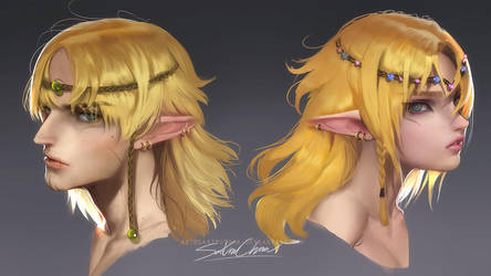 Elf siblings portait by sakimichan