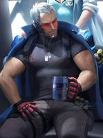 Soldier 76 day off by sakimichan