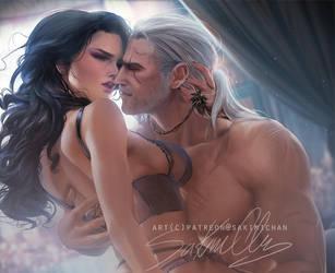 Geralt X Jennefer . heteo tag. by sakimichan