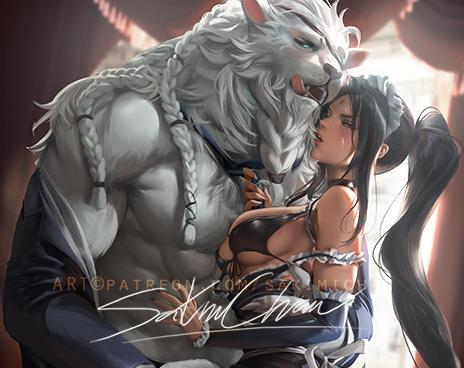 Nidalee X rengar .hetero /furry tag. by sakimichan