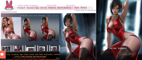 pinup painting voice over with photo reference:Ada by sakimichan