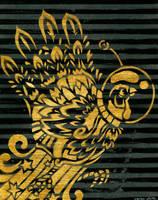 Gold Hand Space Turkey Stencil by Goomba-2007