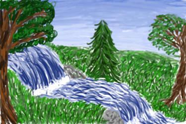 Waterfall Scene by ezo