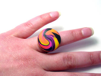 Ray of Sunshine Polymer Clay and Copper Ring by ezo