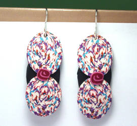 Confetti Ovals Polymer Clay Dangle Earrings by ezo