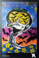 Bat Country - Stencil over Canvas by byCavalera