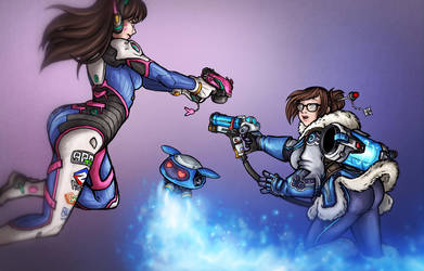 D.Va and Mei - Fanzine Illustration by Noxychu