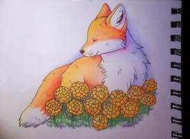fox with marigolds by yeyeyy