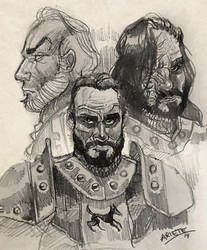 Tywin Lannister, Sandor and Gregor Clegane by thenota