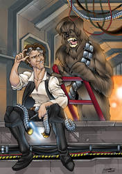 han solo and cheewie colour by thenota