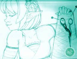 A Needle Pulling Thread - sketch by nicole-m-scott