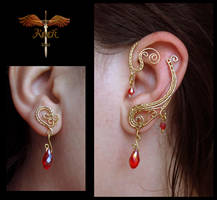 Gold and red earrings by alina-loreley