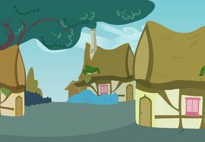Background: Streets of Ponyville by DracoBlair