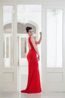dress red hall white by xxbone