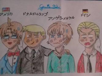 Hetalia - Trump and Merkel's first reunion by Genie92