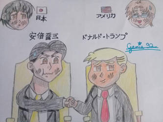 Hetalia - Trump and Abe's first reunion by Genie92