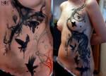 Grunge tree and ravens by mattynox