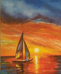 Sunset sail  by StrandedAutumn