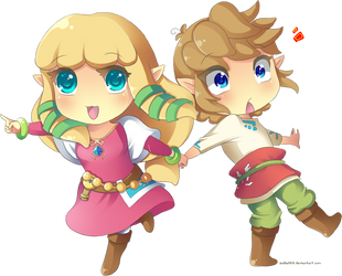 Skyward Sword: Chibi Link and Zelda by Zelbunnii