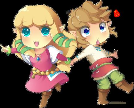 Skyward Sword: Chibi Link and Zelda by Zelbunnii