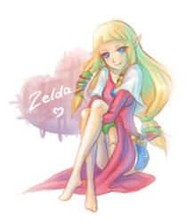 Skyward Sword Zelda doodle by Zelbunnii
