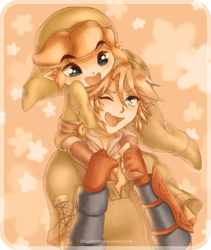 Link and Link: Piggyback by Zelbunnii