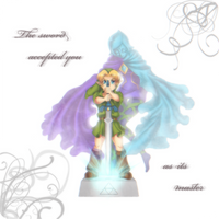Ocarina of Time + Skyward Sword: Young Link and Fi by Zelbunnii