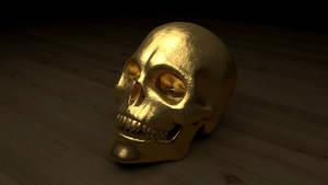 Gold Skull by polygonbronson