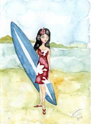 Hawaiian Girl Surfer by LaFoi
