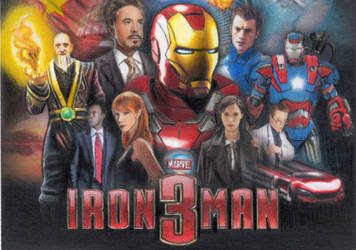 IRON MAN 3 COLLAGE SKETCH CARD by TRENTBRUCE