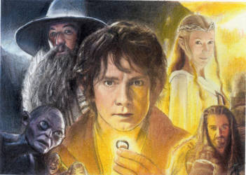 THE HOBBIT COLLAGE SKETCH CARD....ebay aqua-marino by TRENTBRUCE