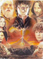 LORD OF THE RINGS COLLAGE SKETCH CARD aqua marino by TRENTBRUCE