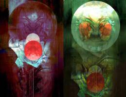 Komposition mit zwei Monden by Senecal