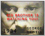 Orwell 1984-big brother stamp by Infernal-Feline