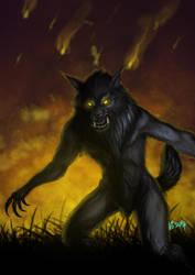 Charlie werewolf action pose by Infernal-Feline