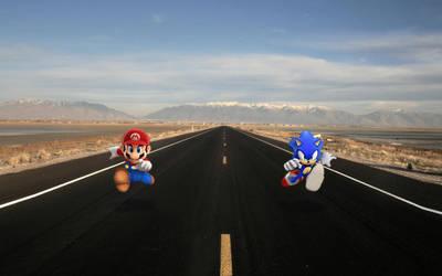 Mario Versus Sonic by lopagof