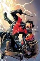Nightwing vs. Redhood by MinkyuJungArt