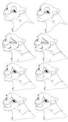 Lion head -free lineart by Malaika4