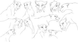 lion head 2 free lineart by Malaika4