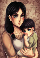 Carla Jaeger and Baby Eren by Nanochiii