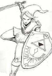 Link pen and ink drawing by ChuckBarrow