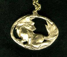 Fox Pendant - copper by LoopyWolf