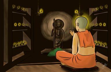 Madhwacharya doing thulasi pooja to Udupi Krishna by paggi93