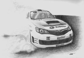 Ken Block in his Subaru by JTIllustrations